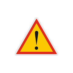 Hazard warning attention sign with exclamation mark icon in flat style on a white background