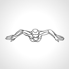 Breaststroke Swimmer Female Outline Silhouette. Sport swimming