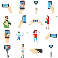 Cartoon selfie icons set. Universal selfie icons to use for web and mobile UI, set of basic selfie elements isolated vector illustration