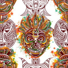 Seamless pattern with african tribal mask with ethnic geometric ornament and splashes in watercolor style. Hand drawn vector illustration