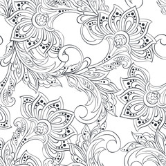 seamless pattern with folkloric flowers