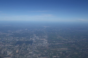 Aerial view of Ueno International airport and sea