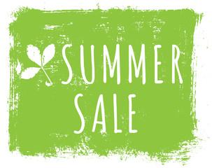 Summer sale ink background with leaves and lettering