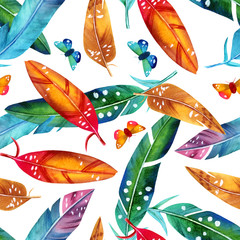 Seamless background pattern with watercolor exotic birds' feathers
