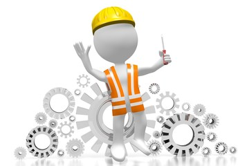 3D worker with a screwdriver