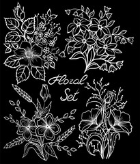 beautiful monochrome black and white floral collection with leaves and flowers set.
