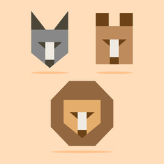 wolf, bear and lion illustration. vector set