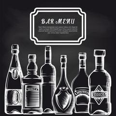 Bar menu background with hand drawn bottles on chalkboard. Vector illustration