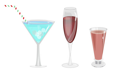 Alcohol glasses vector illustration