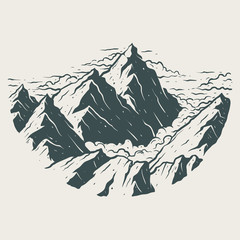 Illustration landscape mountains