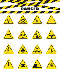 Signs warning of the danger from explosives and flammable liquids, the presence of magnetic field and radiation. Dangerous. Vector