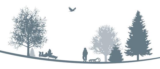 Winterliche Landschaft | Kinder beim Schlitten fahren