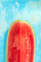 Top view of sliced watermelon fruit with copy space