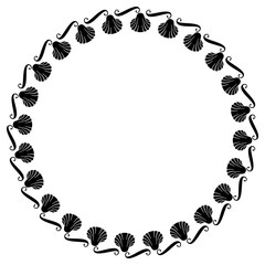 Black and white round frame with shells. Vector clip art.