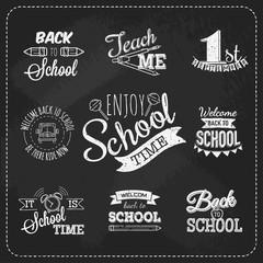Black and white logo set. Back to school.