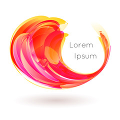 Vector illustration of colorful stylized drop curl swirl on white background