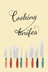 vector illustration of cooking knifes set