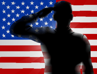 Aluminium Prints Superheroes Veterans Day Silhouette Soldier Saluting