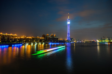 Reflection Of Canton Tower And Buildings On River