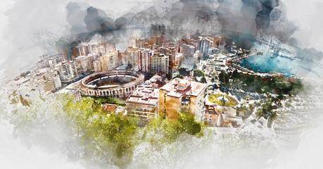 Panoramic view of Malaga city. Spain