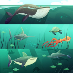 Underwater Life  Retro Cartoon Banners Set
