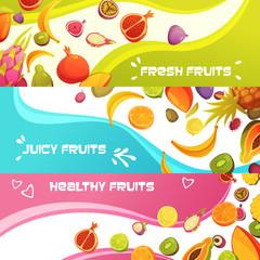 Fresh Fruits Horizontal Banners Set