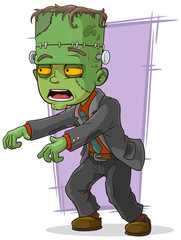 Cartoon green zombie monster in suit