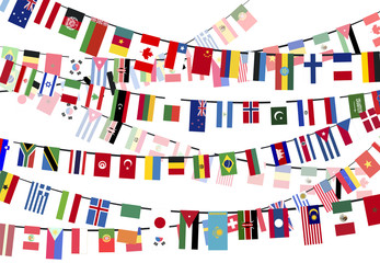 Different countries flags on the ropes