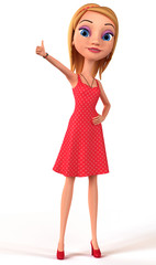 Girl isolated on white background thumbs up. 3d render illustrat