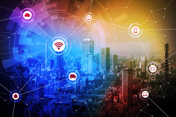 Modern city and wired network concept icons, IoT(internet of things), CPS(Cyber-Physical Systems), ICT(Information Communication Technology), abstract image visual