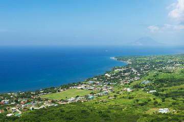 coastline from Brimstone hill fortress, tropical island St. Kitt