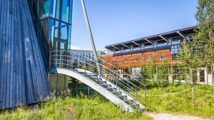 Sami Parliament (Samediggi Sametinget) in Karasjok Norway: the representative body for Sami people in Norway. The peaked structure of the Plenary Assembly Hall shows the Sami tipis