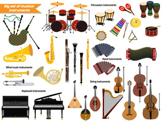 Big set of musical instruments.