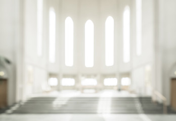 bokeh interior of modern  lutheran, christian church Fotomurales