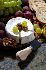 Camembert cheese, fresh fruit and honey, vertical