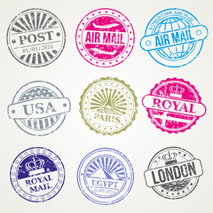 Retro postal stamps mail post office air vector set