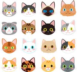 猫の顔のイラストセット