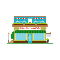 Mini Market Cafe flat style icon isolated on white. Vector illustration