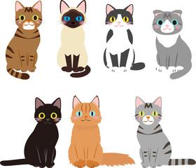 座る猫のイラストセット