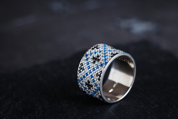 Silver ring with diamonds