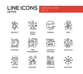 Business - flat design line icons set