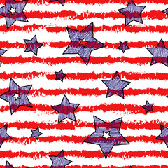 Stars and stripes seamless texture for wraping paper, backgrouns and textile