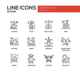 Russian symbols - flat design line icons set
