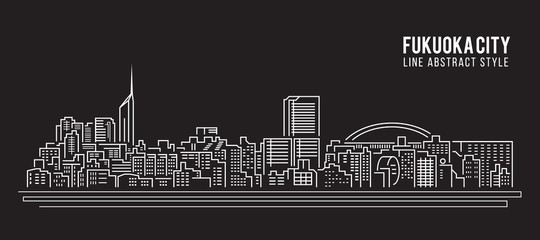 Cityscape Building Line art Vector Illustration design - Fukuoka city
