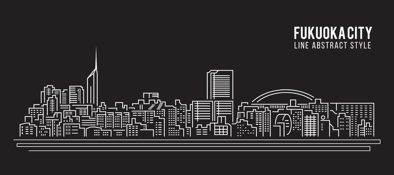 Cityscape Building Line art Vector Illustration design - Fukuoka city
