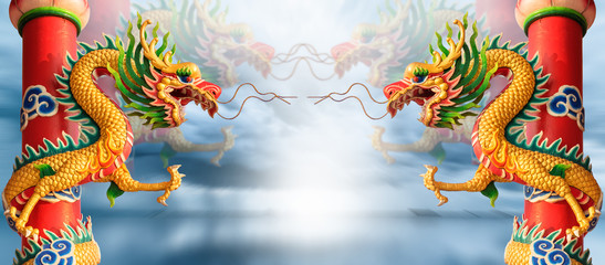 Golden Chinese Dragon with blue sky