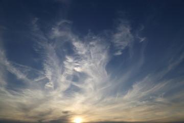 clouds illuminated at sunset