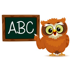 Vector Illustration of an Owl as a teacher