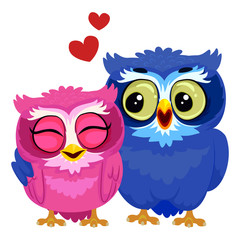 Vector Illustration of Couple Owl