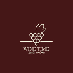 Vector grape vine and wine bottles, logo design template.